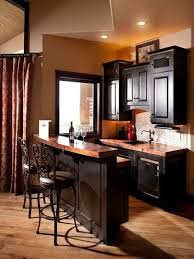 traditional small home bar designs also dark brown bar cabinet also dark brown metal bar stools with back also light brown floorboards color also light black mini bar home