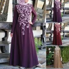 Musulmán <b>Mujer</b> Estampado Floral Manga Larga a Línea <b>Vestido</b> de ...
