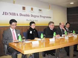 cuhk launches the st jd mba double degree programme in asia from left mr vincent leung ms erica chan professor stephen hall co ordinator of the juris doctor programme school of law cuhk