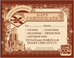 printable christmas gift ticket certificate salt lake comic con printable christmas gift ticket certificates