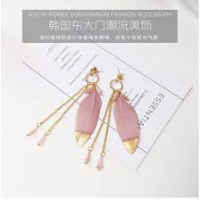 Korean New Design <b>Sweet Pink</b> Feathers <b>Crystal</b> Tassel Earrings ...