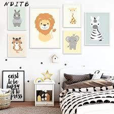 NDITB <b>Woodland Animal</b> Tiger Elephant <b>Canvas</b> Painting <b>Cartoon</b> ...
