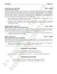 physical education resume example page 2 sample resume education