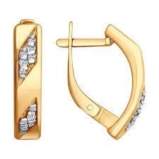 <b>Серьги</b> из золочёного <b>серебра SOKOLOV</b> с фианитом 93020795 ...