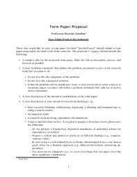 Term paper topic proposal example Term Paper Writing  Writing The