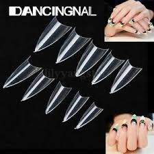 <b>500PCS Clear Natural</b> False Point Stiletto French Acrylic UV Gel ...