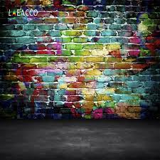 <b>Laeacco</b> Grunge <b>Colorful Brick</b> Wall Floor Pattern Photography ...
