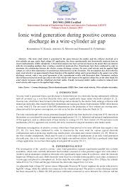 Ionic wind generation during positive corona discharge in a <b>wire</b> ...