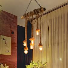 american country vintage hemp rope hanging lamps pastoral retro bamboo pendant lights fixture home indoor lighting cafes lamps bamboo lighting fixtures