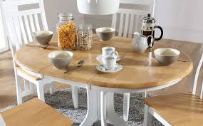 table hudson white tone hudson white two tone round extending dining room table