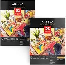 Arteza Watercolor Paper 9x12 Inch, Pack of 2, 64 ... - Amazon.com
