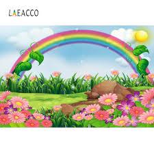 <b>Laeacco</b> Baby <b>Cartoon</b> Colorful Rainbow Grass Flower Sun Sky ...