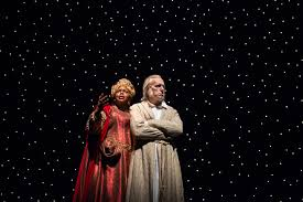 theater review a christmas carol goodman theatre in chicago  lisa gaye dixon ghost of christmas present and larry yando ebenezer scrooge