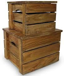 CUORE BANGKOK <b>Storage</b> Crate Set 2 Pieces <b>Solid Reclaimed</b> ...