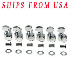 <b>KAISH</b> Chrome <b>6 Inline</b> 2 Pin <b>Locking</b> Tuning Pegs Tuners For USA ...