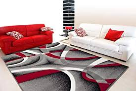 2305 Gray Black Red White Swirls 5'2 x7'2 Modern ... - Amazon.com