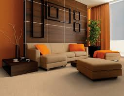 charming minimalist living room design with beautiful color schemes and tan leather plose sofa which has charming living room fixtures