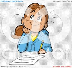clipart of a cartoon happy school girl resting her chin on her png file has a