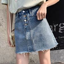 <b>Loyalget Denim Skirt High</b> Waist A line Mini Skirts Women 2019 ...