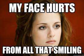 My face hurts From all that smiling - kristen stewart meme - quickmeme via Relatably.com
