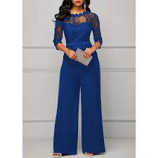 Lace Jumpsuits for <b>women 2018 Autumn Sexy</b> High Waist Palazzo 3 ...