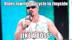 Rides lowrider bicycle to ringside LIKE A BOSS! - Hunico WWE 13 ... via Relatably.com