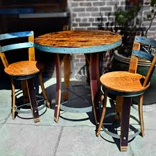 wine barrel outdoor furniture wine barrel bistro table with two chairs alpine wine design outdoor