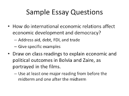social effects of democracy political economy of the global south  sample essay questions how do international economic relations affect economic development and democracy  address