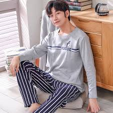 Men <b>Pajamas</b> Set O neck <b>Sleepwear</b> Cotton Nightwear Long Sleeve ...