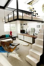 living room with bed: apartment stylish london home with a suspended bedroom