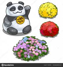 <b>Panda</b> with <b>hieroglyph</b>, feng shui and flower beds — Stock Vector ...