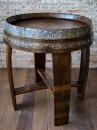 red mahagony stained wine barrel end table with cross braces arched napa valley wine barrel table