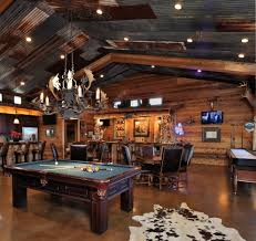 inspired kitchen cdab white brown: country man cave family room rustic with leather chairs metal panel ceiling