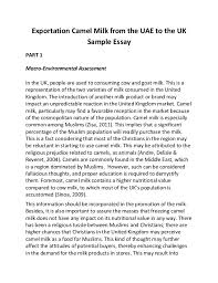 exportation camel milk from the uae to the uk sample essay part 1 macro environmental