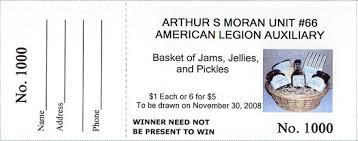 Raffle Ticket Software American Legion Basket White Ticket ...