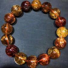 14mm <b>Natural Copper</b> Hair <b>Rutilated</b> Quartz Crystal Beads Bracelet ...