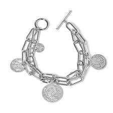 Двойной <b>серебристый браслет</b>-<b>цепь</b> с подвесками-медальонами ...