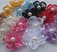 Details about <b>30pcs</b> Upick <b>Ribbon</b> Flowers <b>Bows</b> W/pearl <b>Appliques</b> ...