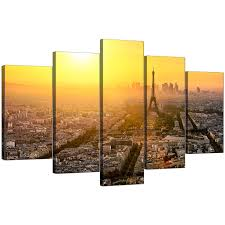 Wall Art Sets For Living Room Paris Skyline Canvas Pictures For Your Office 5 Panel