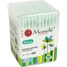 Купить <b>Ватные палочки MANEKI Lovely</b> гигиенические, с зеленым ...