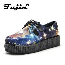 <b>Fujin Brand</b> Starry sky <b>Creepers Women Shoes</b> Flat Platform <b>Shoes</b> ...