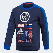 <b>adidas Свитшот</b> Marvel Spider-Man <b>Crew</b> - синий | <b>adidas</b> Россия