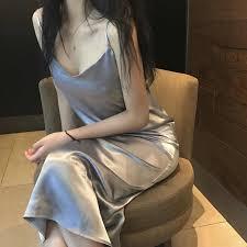 <b>2019 summer</b> new <b>ice silk</b> nightdress women can wear sexy ...