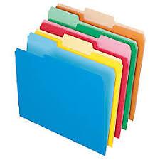 Letter Size, <b>1</b>/3 Cut, Assorted Colors, <b>Box Of 100</b> Folders