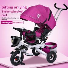 <b>Folding children's tricycle Multi functional</b> baby bicycle lie down ...