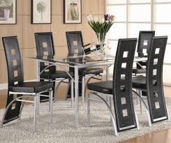 Black Leather Dining Room Chairs Rectangle Black Glass Dining Table Top With Silver Steel Base And