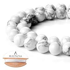 BEADNOVA 10mm Natural White Howlite Gemstone ... - Amazon.com