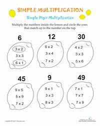 Simple Multiplication: Lemons   Worksheet   Education.comThird Grade Multiplication Worksheets: Simple Multiplication: Lemons