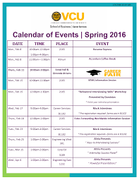 updated calendar of events how to work the career fair program is calendar of events spring 2016 2 4 16