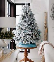holiday decor ideas winter miniature christmas tree decorating with faux snow simple and elegant